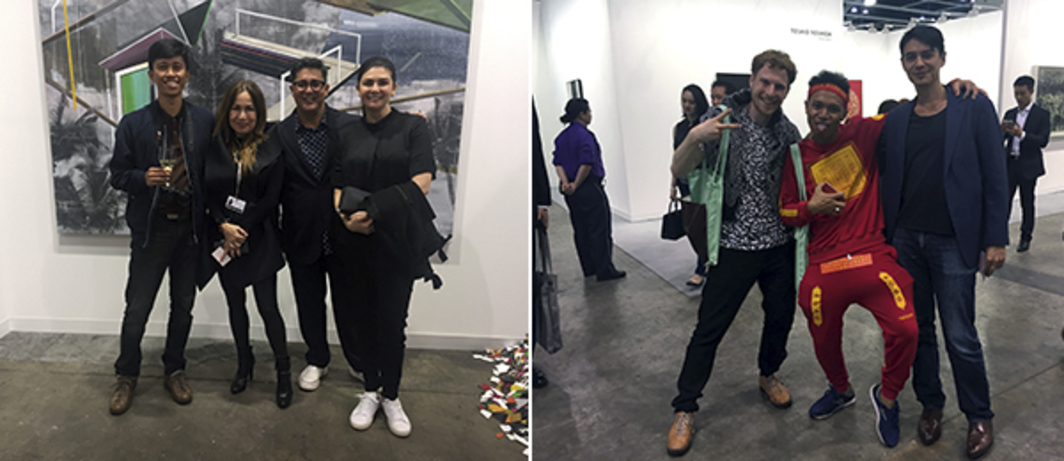 Left: Artist Zean Cabangis, dealer Tina Fernandez with actors and collectors Aga and Charlene Muhlach. Right: Artists Tobias Gutmann, Hahan (Uji Hahan Handoko), and curator David Teh.