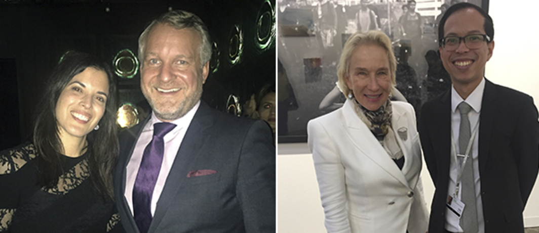 Left: BMW's Hedwig Solis Weinstein and Thomas Girst. Right: Patron and filmmaker Elaine Forsgate Marden and 1335 Mabini's Luigi Singson.