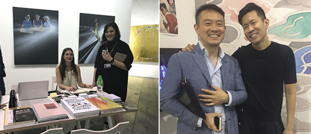Left: Dealer Pilar Corrias. Right: Collector Duncan Zheng and artist Ming Wong.