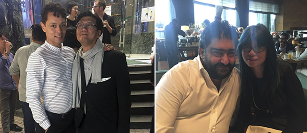 Left: Delfina Foundation director Aaron Cezar and Pearl Lam's Joseph Ng. Right: Director Istanbul Contemporary Kamiar Maleki and Australia China Art Foundation Yashian Schauble.