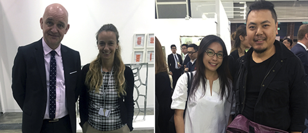 Left: Pi Artworks' Marcel Swagers and Yesim Turanli. Right: Soundpocket's Rachel Wong and artist Chow Chun Fai.