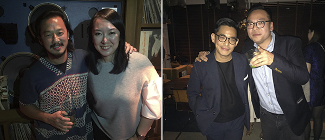Left: Potato Head's Ronald Akili and Element Art Space's Aniela Rahardja. Right: Pun + Projects' Ivan Pun and Classified Group's Alan Lo.