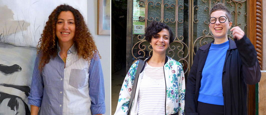 Left: Aleya Hamza of Gypsum Gallery. Right: Writer Mai Elwakil of Medrar for Contemporary Art with Jenifer Evans of Nile Sunset Annex and Mada Masr. (All photos: Kaelen Wilson-Goldie)