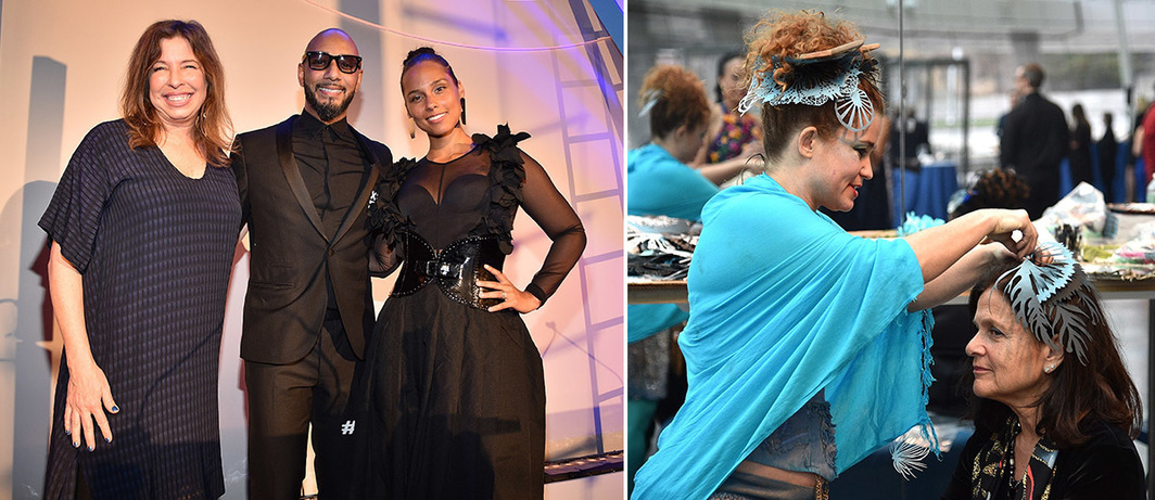 Left: Brooklyn Museum director Anne Pasternak with Swizz Beatz and Alicia Keys. Right: Swoon and team at Pearly's Beauty Shop.