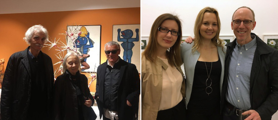 Left: Filmmakers Yervant Gianikian and Angela Ricci Lucchi with curator Marco Scotini. Right: Advisor Inna Kuester, Lisson director Annette Hoffman, and artist Spencer Finch.
