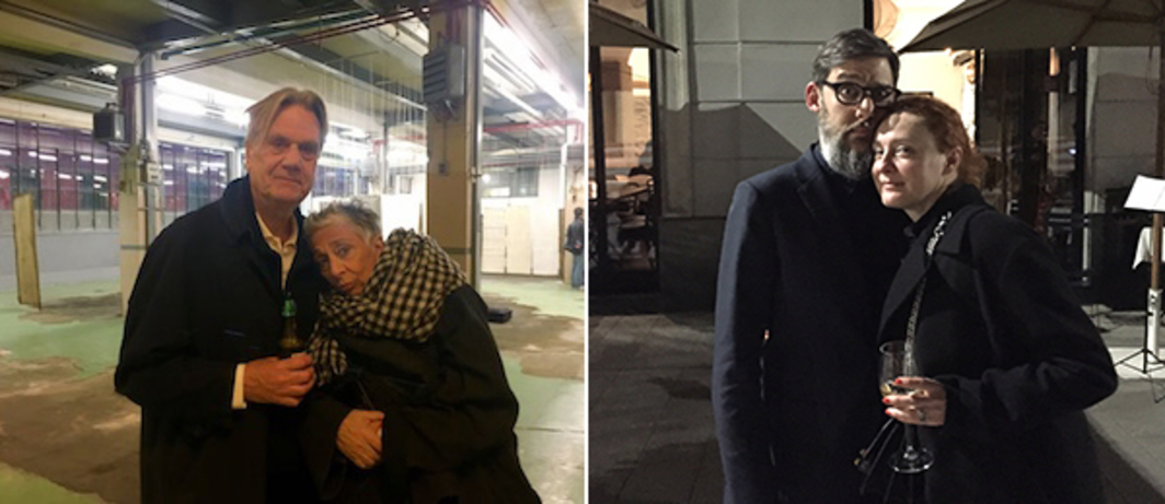 Left: Designers George Sowden and Paola Navone at Assab One. Right: Dealer Flavio Del Monte and design curator Maria Cristina Didero.
