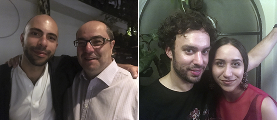 Left: Dealer Felipe Dmab and collector Pedro Barbosa. Right: Dealers Pedro Mendes and Magê Abàtayguara.
