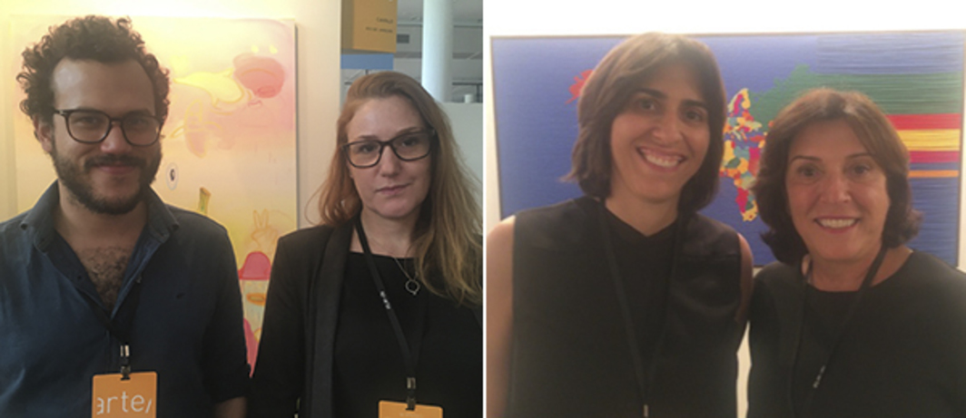 Left: Dealers Felipe Pena and Ana Elisa Cohen. Right: Dealers Juliana Cintra and Silvia Cintra.