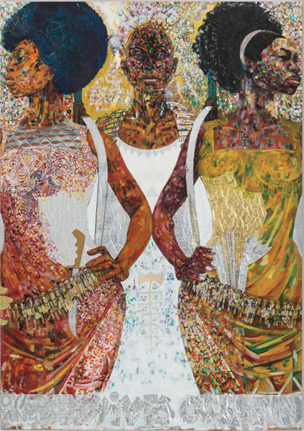 "Jeff Donaldson, Wives of Sango, 1969, mixed media, 36 × 24""."