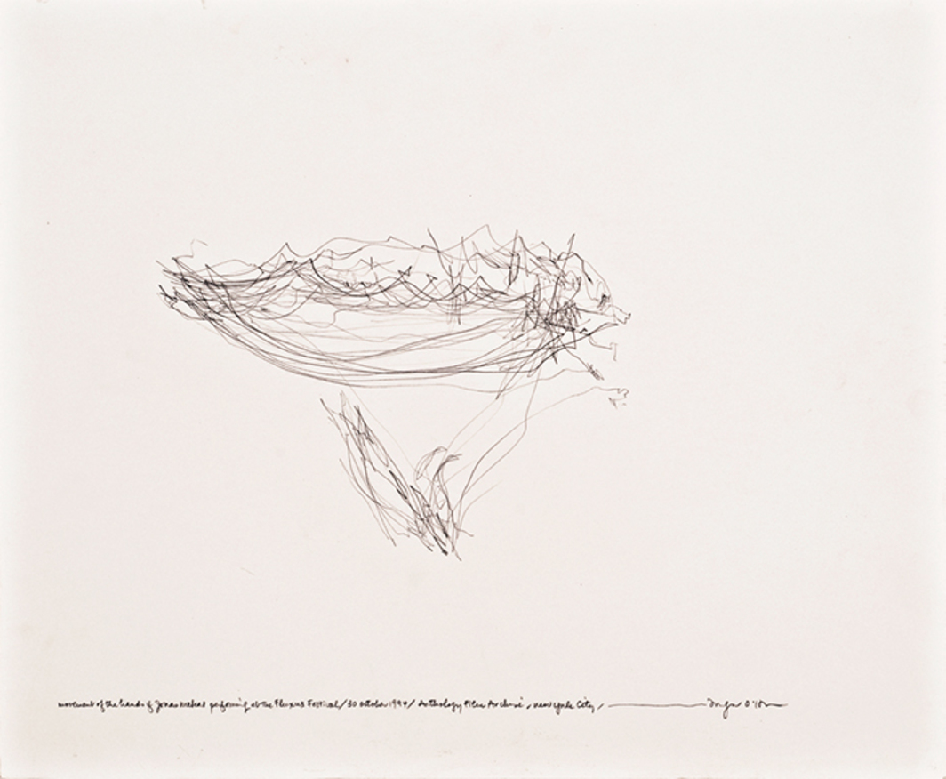 "Morgan O'Hara, LIVE TRANSMISSION: movement of the hands of JONAS MEKAS performing at the Fluxus Festival / Anthology Film Archive / New York City / 30 October 1994, pencil on paper, 11 × 14""."