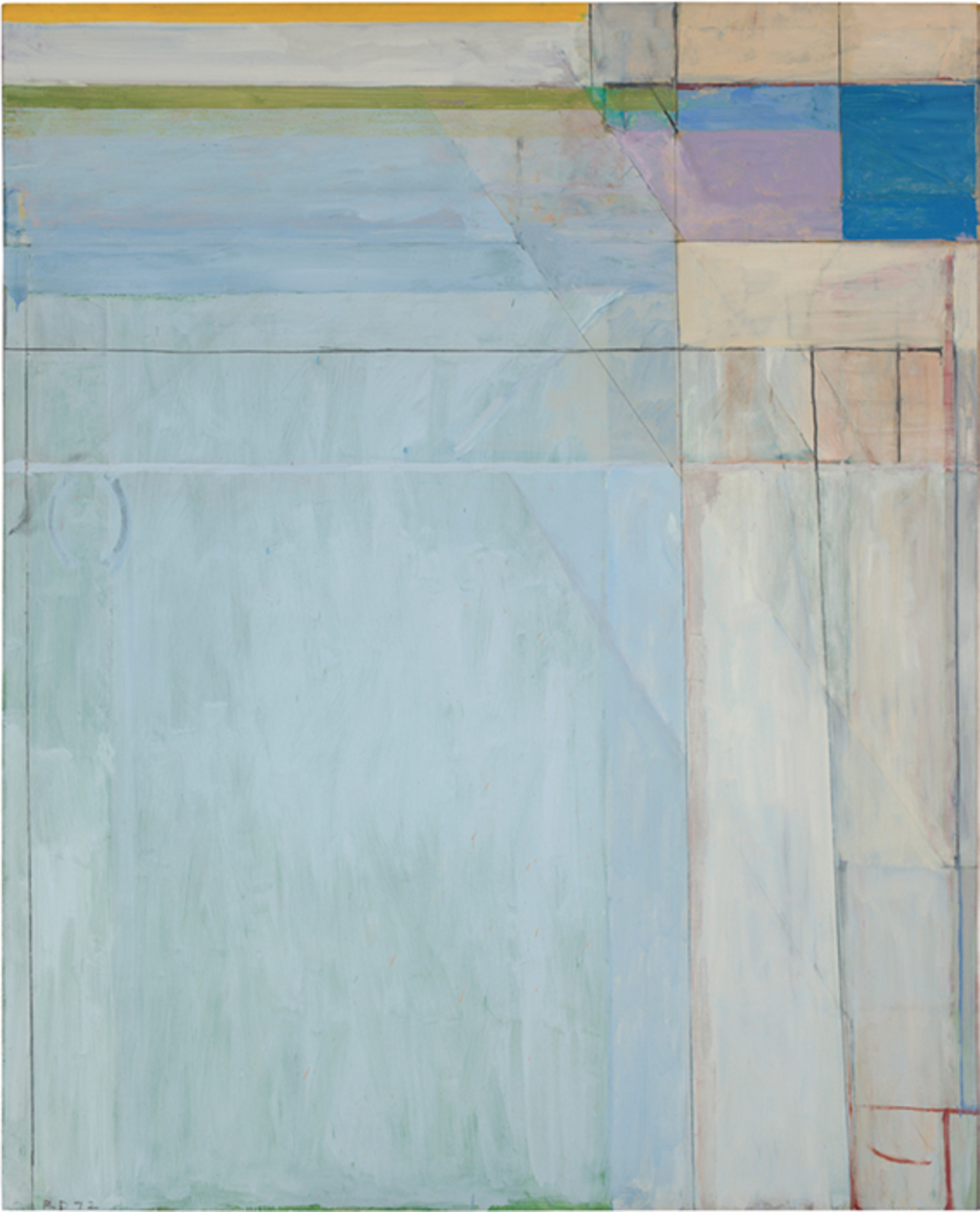 "Richard Diebenkorn, Ocean Park #54, 1972, oil and charcoal on canvas, 100 x 81"". © The Richard Diebenkorn Foundation."