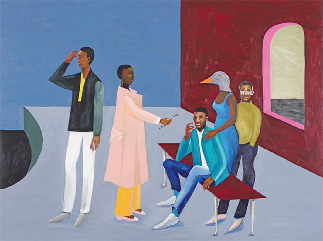 "Lubaina Himid, Le Rodeur: Exchange, 2016, acrylic on canvas, 72 × 96""."