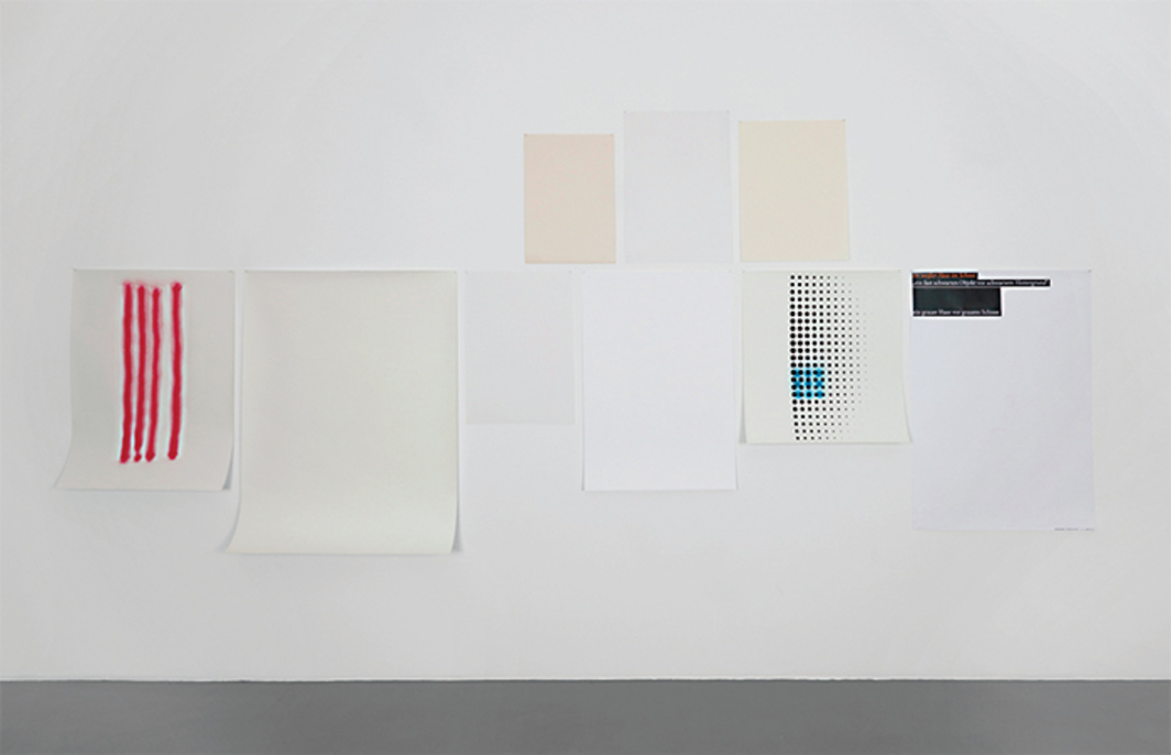 "Wolfgang Plöger, Weißabgleich (White Balance), 2016, paper in nine different shades of white; ink-jet print, silk screen, spray paint on paper, 6' 10 5/8"" × 15' 9""."