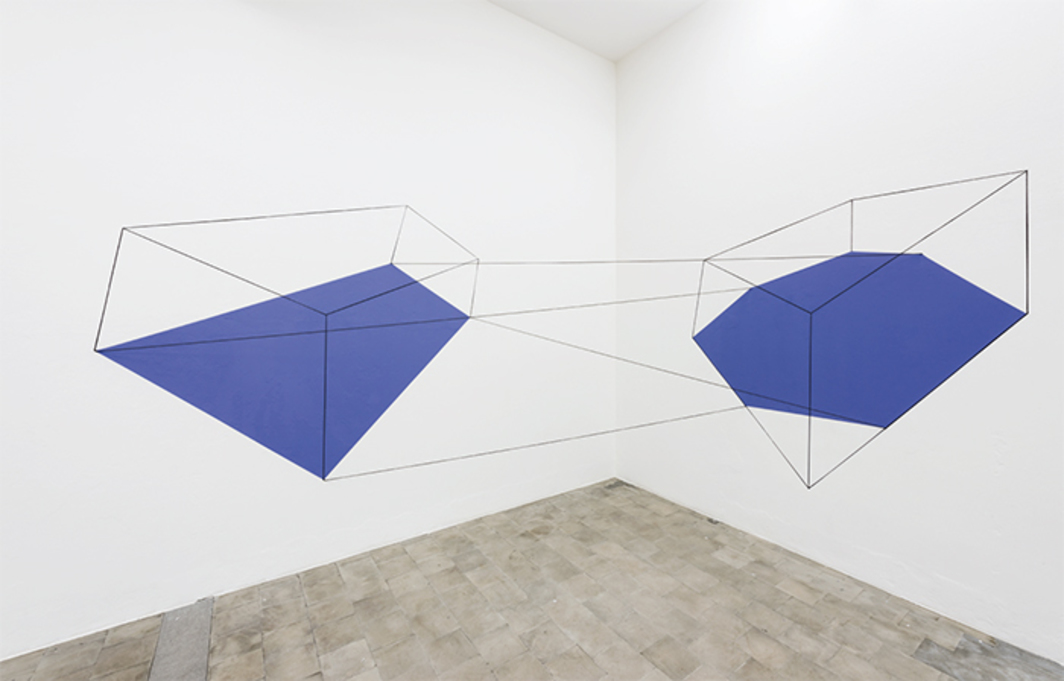 "Lydia Okumura, Untitled I, Installation at Pratt Institute Gallery, Brooklyn, NY 1980; SP 2017, 1980/2017, acrylic and cord, 7' 6 1/2"" × 14' 5 1/4"" × 5' 10 7/8""."