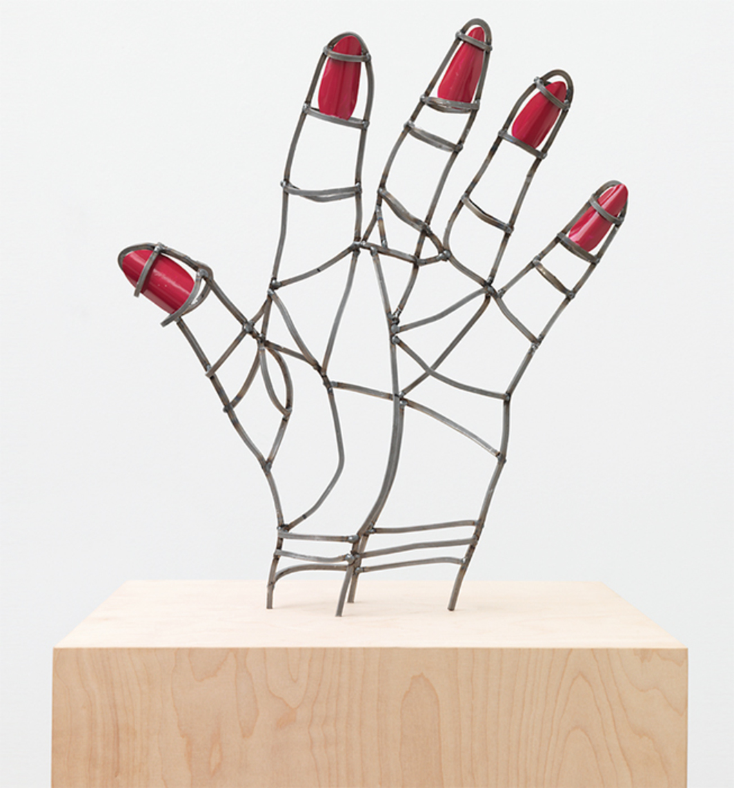 "Teresa Burga, Mano mal dibujada (Poorly Drawn Hand), 2015, steel, varnish, 16 1/2 × 14 1/8 × 3 3/8""."