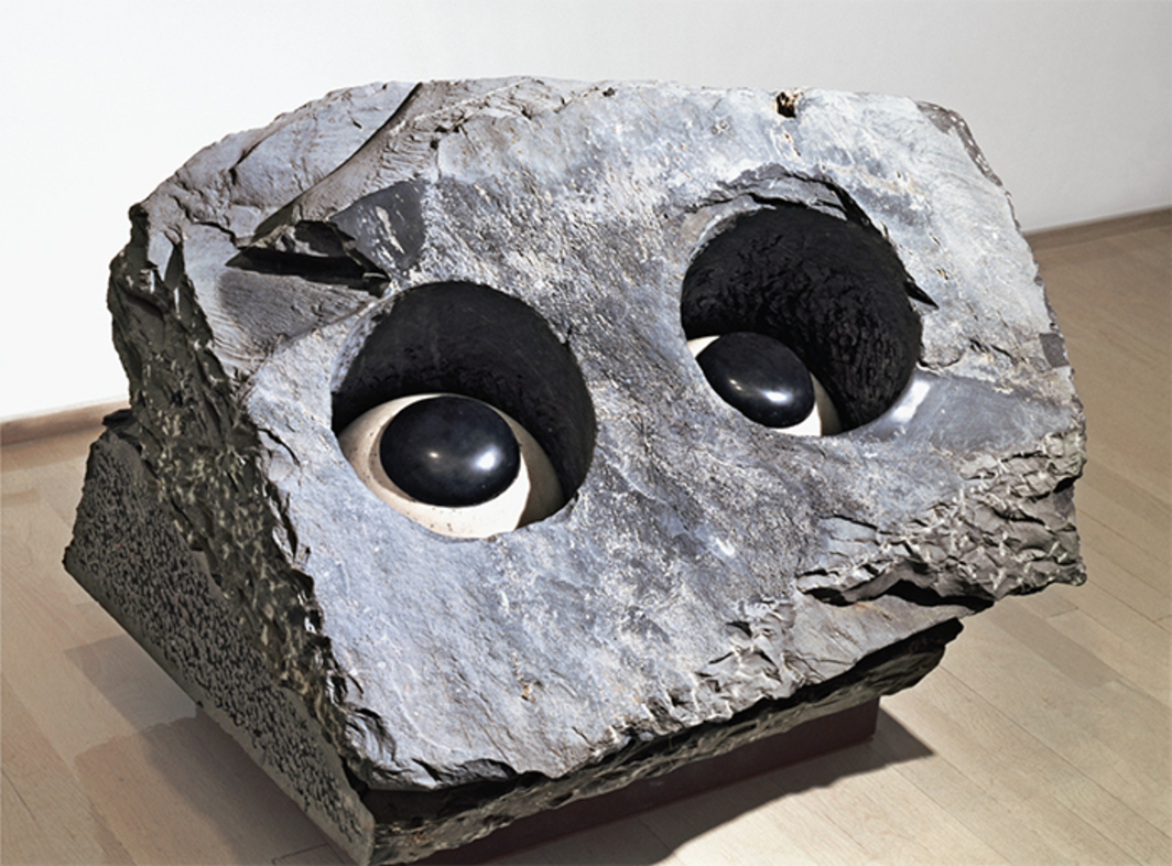 "Louise Bourgeois, Nature Study (Velvet Eyes), 1984, marble, steel, 26 × 33 × 27"". © The Easton Foundation; VAGA, NY."
