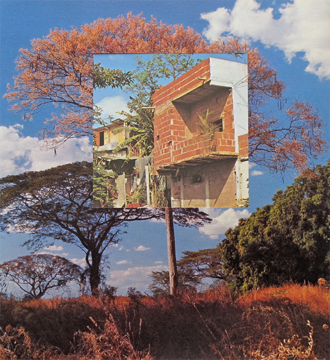 "Jorge Pedro Núñez, El sueño de una casa (Mari-Mari Rosado) (The Dream of a House [Mari-Mari Rosado]), 2011, collage on paper, 13 3/4 × 11 7/8"". From ""Home—So Different, So Appealing: Art from the Americas Since 1957."""