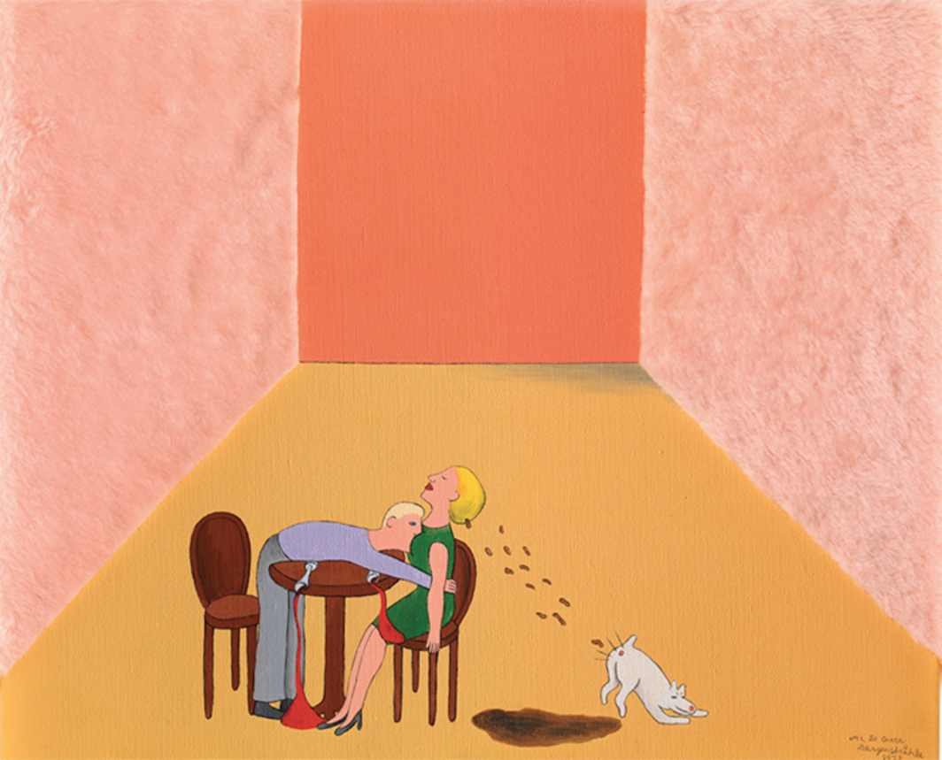 "Marie-Louise Ekman, At Home with a Lady, 1973, oil and faux fur on canvas, 19 3/4 × 23 5/8""."