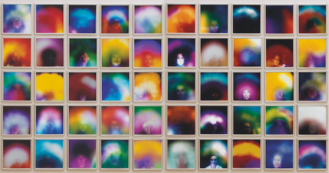 "Susan Hiller, Homage to Marcel Duchamp: Auras, 2008, fifty color archival dry prints, each 12 x 12"", overall 12 1/2 x 12 1/2'."