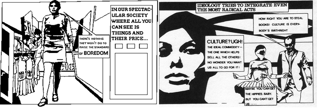 Two panels adapted from publicity for l'Internationale situationniste #11, October 1967.
