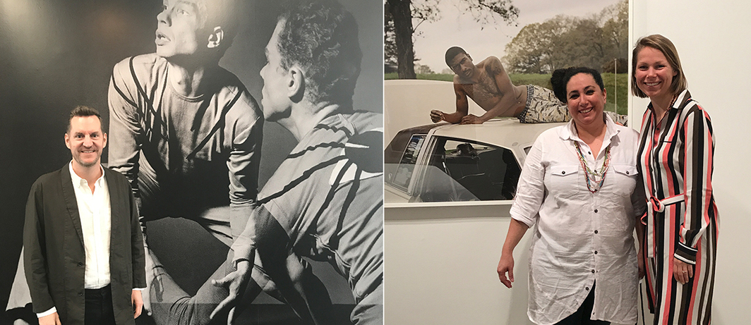 Left: MCA Chicago chief curator Michael Darling in front of Barbara Morgan photography of Merce Cunningham performing Root of an Unfocus, 1944. Right: Curator Risa Puleo and Gallerist Anastasia Karpova Tinari with Deana Lawson photograph. (Photo: Rhona Hoffman)