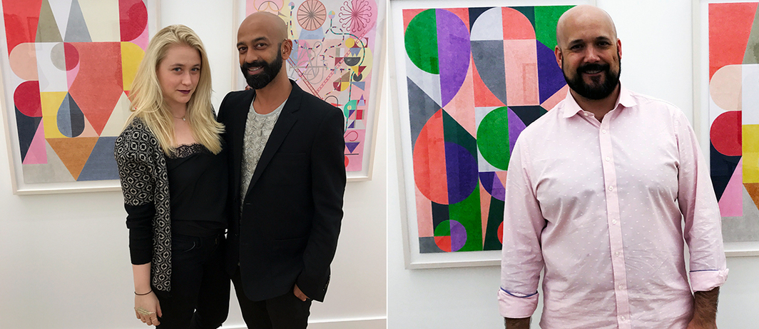 Left: Artist Brendan Fernandes and friend with work by Elijah Burgher at Western Exhibitions. Right: Western Exhibitions' Scott Speh with work by Elijah Burgher.