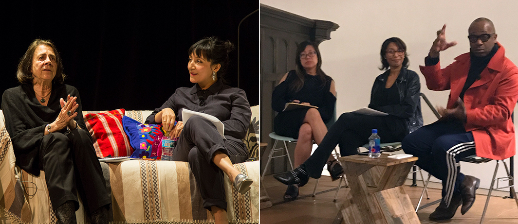 Left: Maria Varela and Maria Gaspar in conversation at the National Museum of Mexican Art. (Photo: Jackie Rivas) Right: Lisa Yun Lee, Romi Crawford and Theaster Gates at Stony Island Arts Bank.