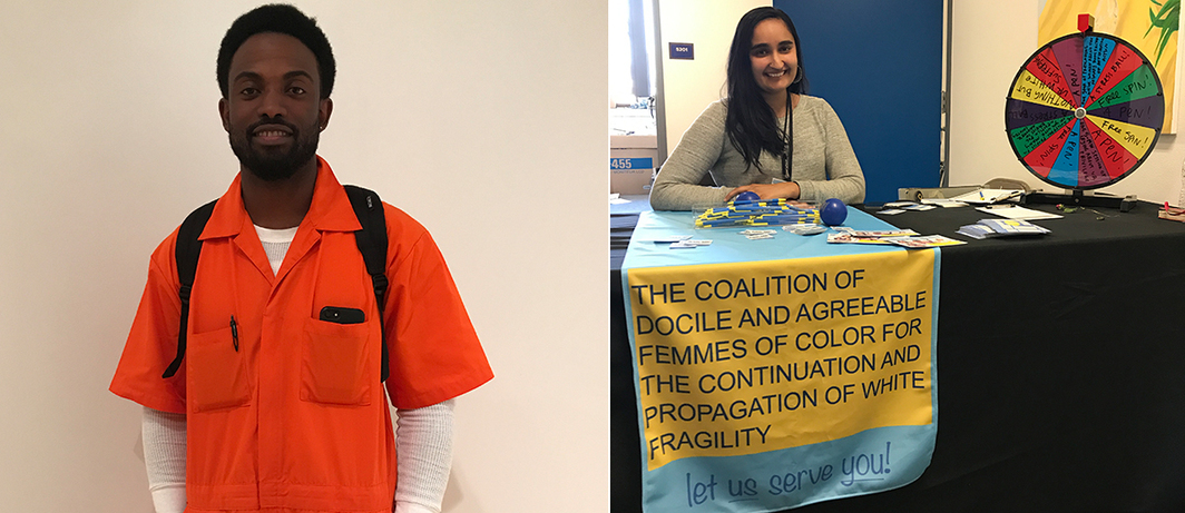 "Left: Sherrill Roland performing ""The Jumpsuit Project"". Right: Satpreet Kahlon with The Coalition of Docile and Agreeable Femmes of Color for the Continuation and Propagation of White Fragility."