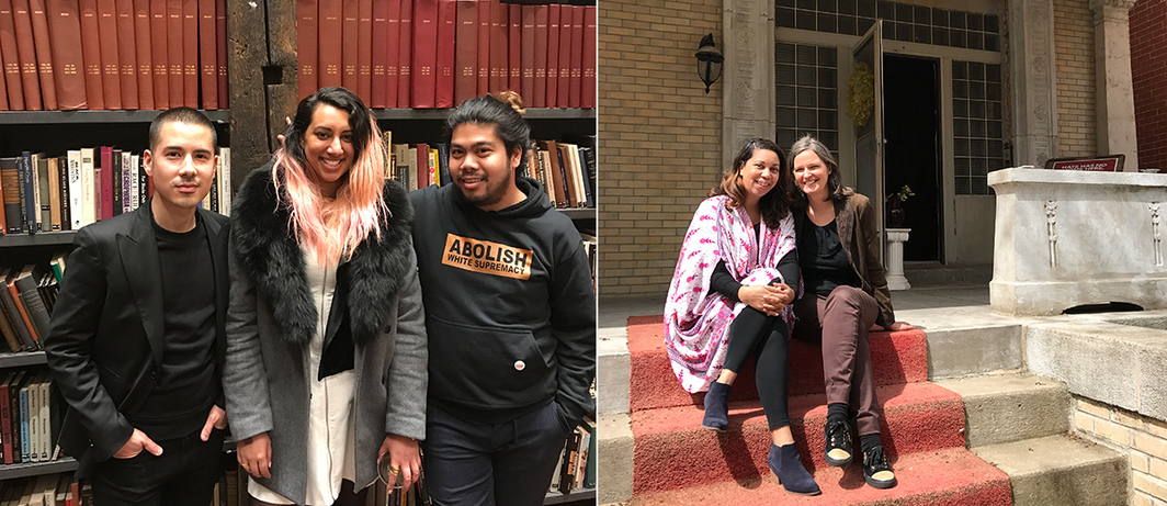 Left: Performa's Job Piston, NYC Department of Cultural Affiars' Diya Vij, and artist / educator PJ Gubatina Policarpio at Stony Island Arts Bank. Right: Field Foundation's Angelique Power and 6018North's Tricia Van Eck.
