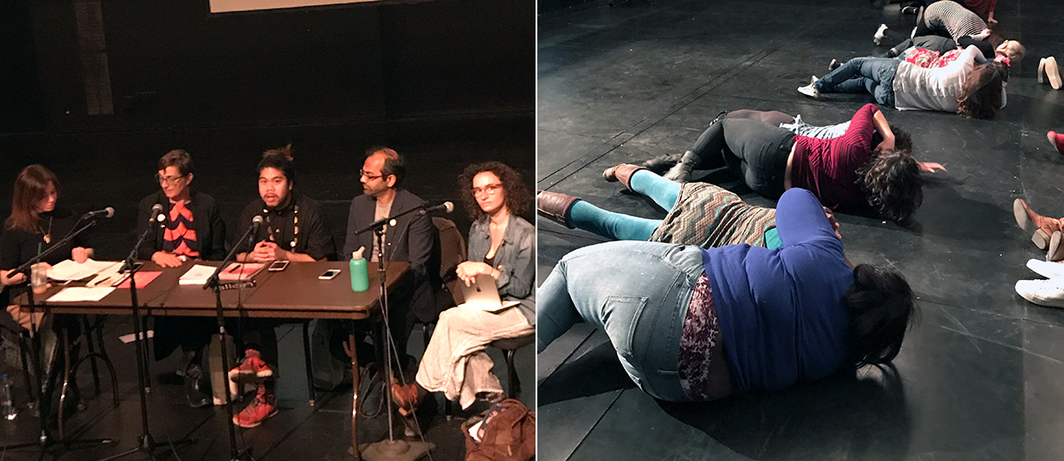 "Left: ""Building MASS Action Museum As Site for Social Action"" with Elisabeth Callihan, Therese Quinn, PJ Gubatina Policarpio, Nikhil Trivedi, and Alyssa Greenberg. Right: Participants during Shaun Leonardo's Open Engagement ""I Can't Breathe"" workshop."