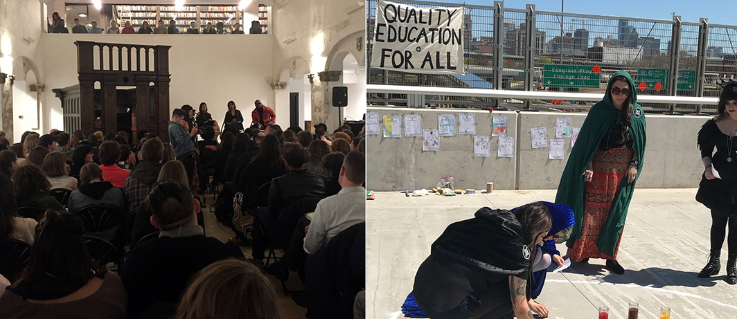 Left: Open Engagement keynote conversation at the Rebuild Foundation's Stony Island Arts Bank. (Photo: Job Piston) Right: We are WITCH A Ritual Performance for the Fundamental Right of Education.