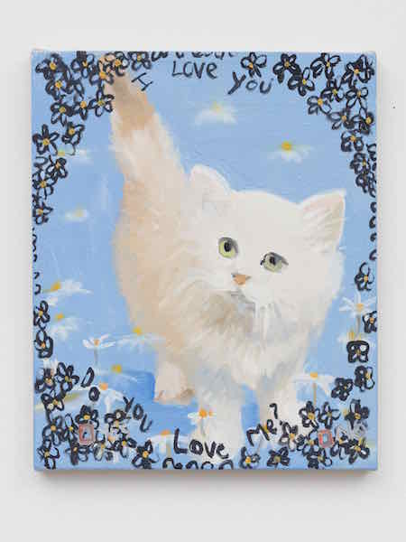 "Ann Craven, Kitty, I Love You Do You Love Me, Yes, No?, 2002, 2002, oil on linen, 12 x 10""."