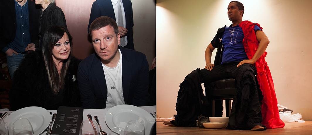 Left: Ronnie Sassoon with ICA London director Stefan Kalmar. Right: Artist Trajal Harrell. (Photo: Artists Space)