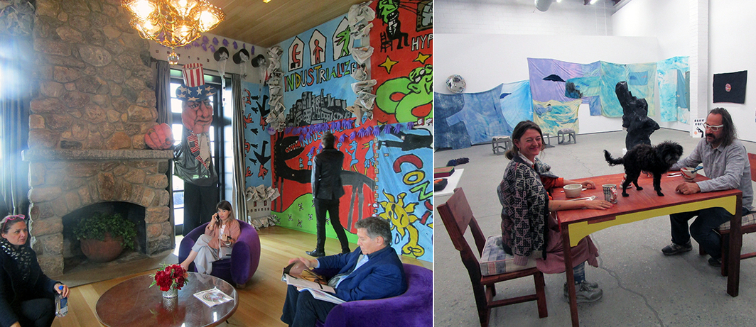 Left: Bread and Puppet Theater's installation. Right: Artists Johanna Jackson and Chris Johnson.