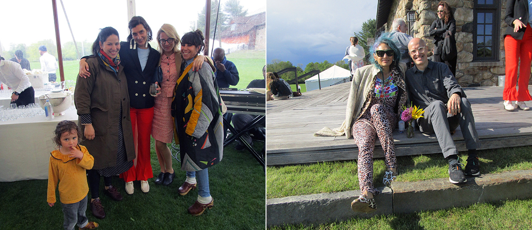 Left: Valentina Ackerman with curator Sadie Laska, artist Aurel Schmidt and designer Judi Rosen. Right: Artists Tamara Gonzales and Chris Martin.