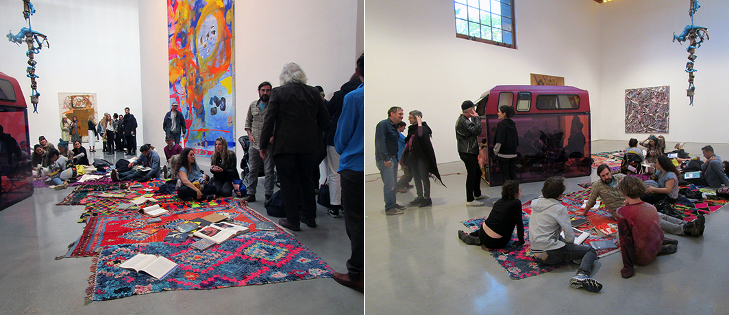 "Left: Katherine Bernhardt's ""Moroccan Magic Carpets."" Installation view. Right: Katherine Bernhardt's ""Moroccan Magic Carpets"" with Sarah Braman's Badger Den (Let's read together), 2017. Installation view."