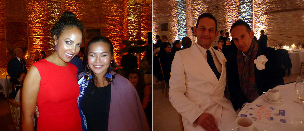 Left: Art Basel's Alia Al Senussi with Bellas Artes Project's Jam Acuzar at the Samdani Art Foundation dinner. Right: Curators Jens Hoffmann and Inti Guerrero at the Samdani Art Foundation dinner.