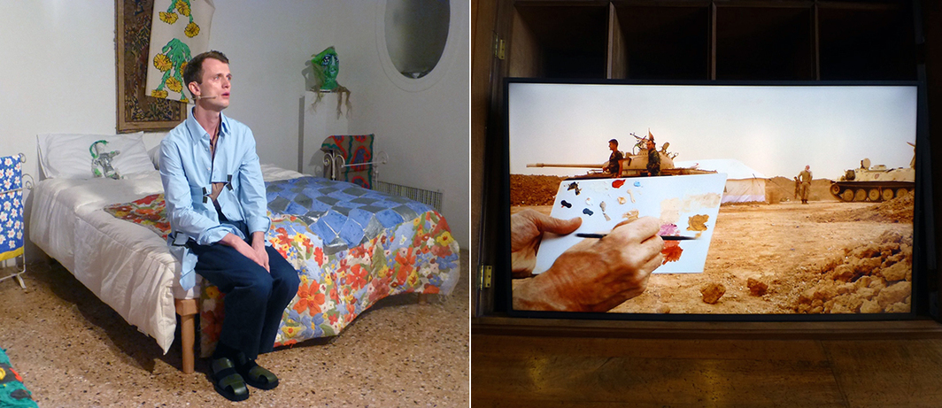 Left: Nils Bech performing at the Bosnia and Herzegovina Pavilion's University of Disaster. Right: Francis Alys's untitled 2016 film at the Iraq Pavilion.