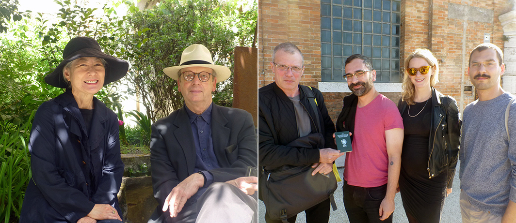 Left: Artists Margaret Honda and Morgan Fisher at SpazioA in Pistoia. Right: Artist Luchezar Boyadjiev shows off his NSK Diplomat passport to Witte de With's Adam Kleinman, Natasha Hoare, and Samuel Saelemakers.