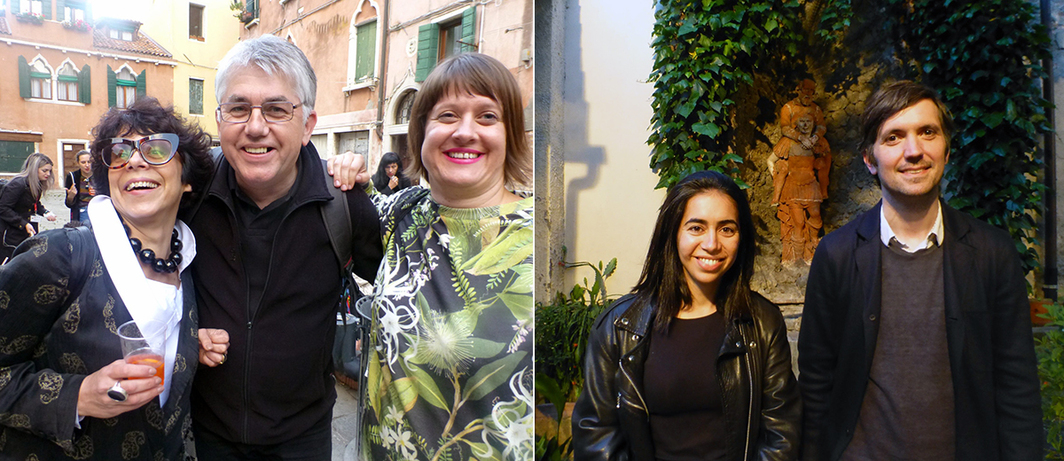 Left: Curators Jara Boubnova and WHW's Sabina Sabolovic with NSK's Miran Mohar. Right: Curators Myriam Ben Salah and Chris Fitzpatrick at SpazioA in Pistoia.
