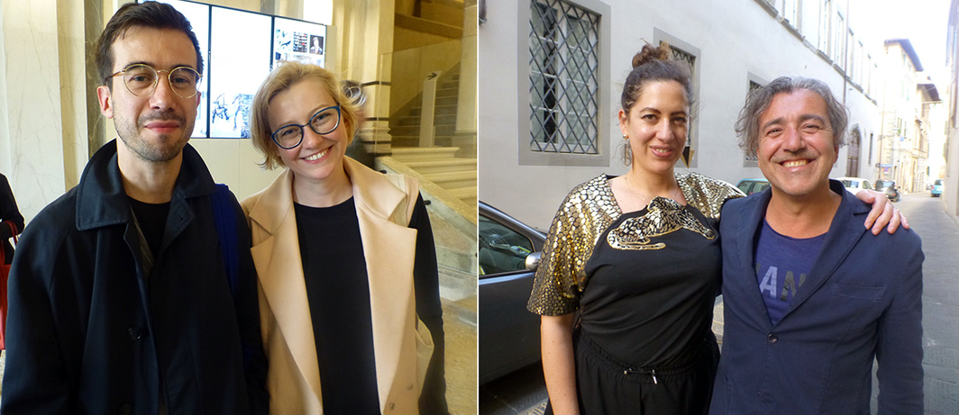Left: Curators João Ribas and Alisa Prudnikova. Right: Curator Martha Kirszenbaum and Giuseppe Alleruzzo at SpazioA in Pistoia.