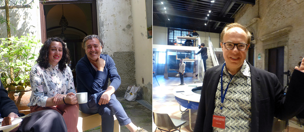 Left: Dealers Ariana Pacifico and Giuseppe Alleruzzo at SpazioA in Pistoia. Right: Curator Charles Esche at the NSK State Pavilion.