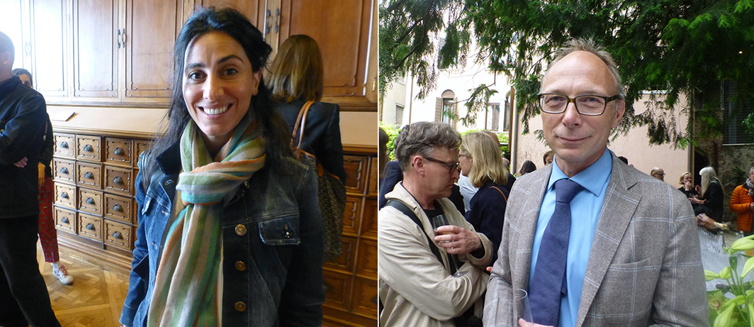 Left: Marfa Project's Joumana Asseily at the Iraq Pavilion. Right: Nordic Pavilion curator Mats Stjernstedt.