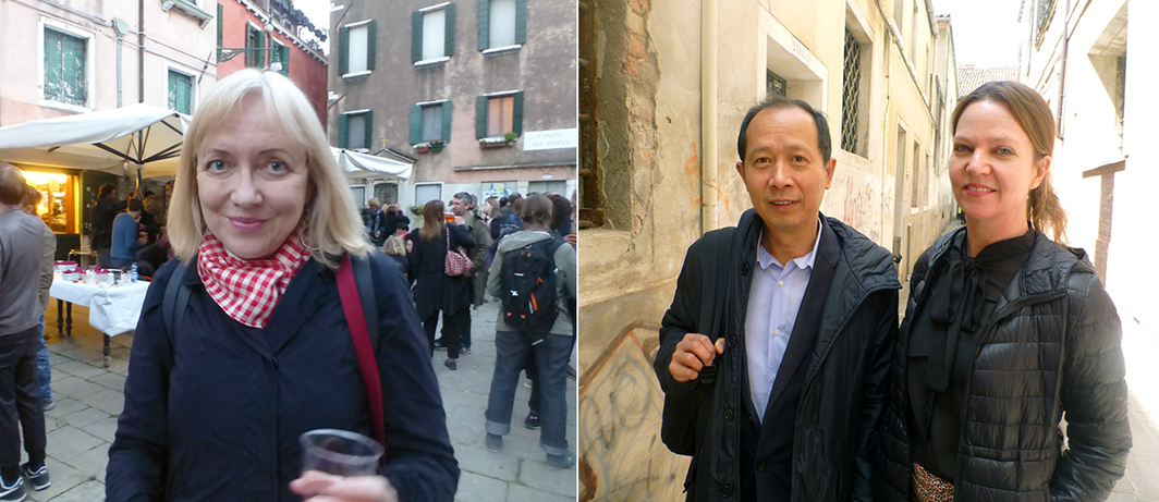 Left: Philosopher Renata Salecl. Right: Curators Hou Hanru and Evelyne Jouanno.