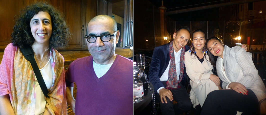 Left: Ruya Foundation's Lemma Shehadi with artist Sadik Kwaish Alfraji at the Iraq Pavilion. Right: Curator Inti Guerrero, Bellas Artes's Jam Acuzar, and dealer Galuh Sukardi.