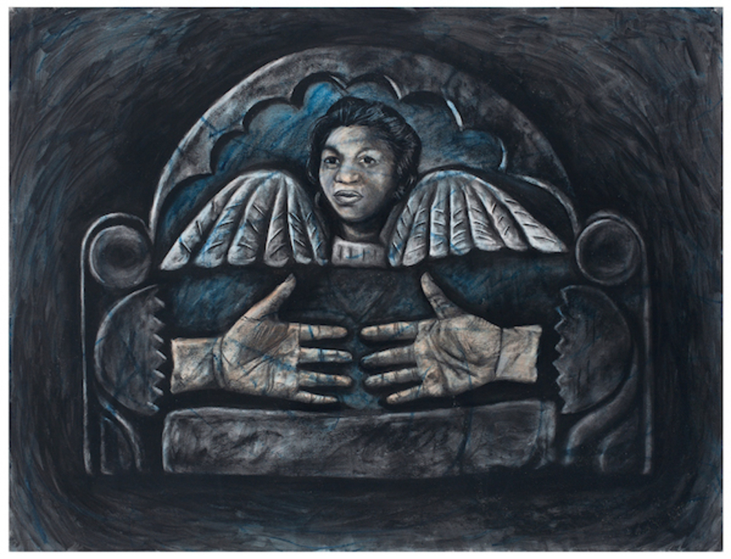 "Whitfield Lovell, Grandmother, 1988, oil stick and charcoal on paper, 38 x 50""."