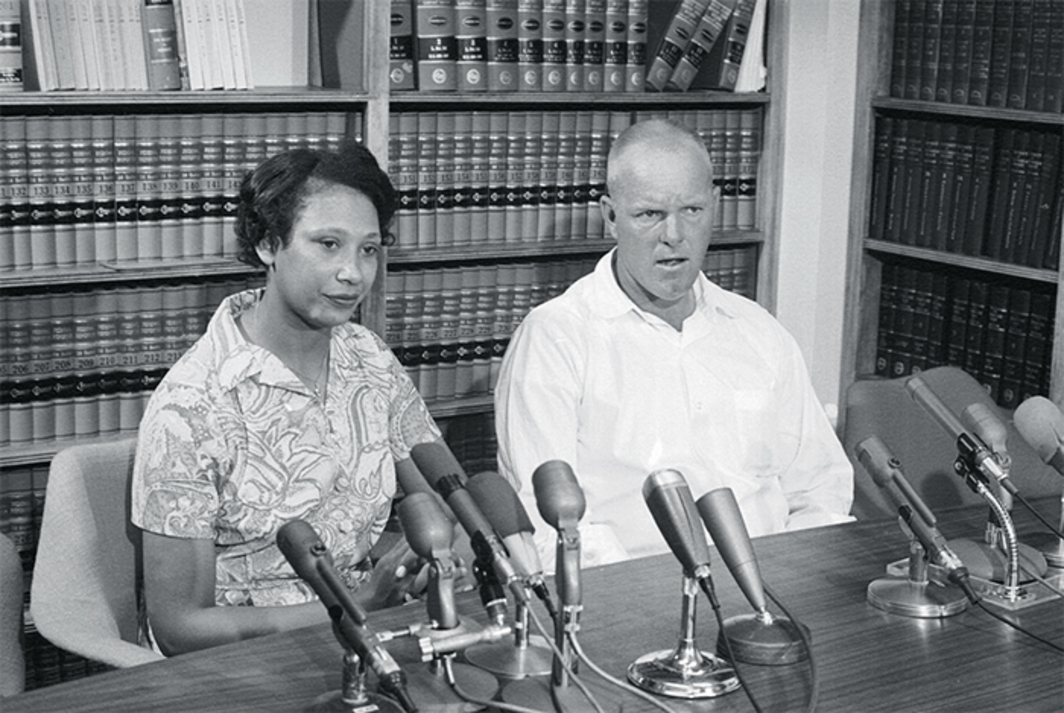 Mildred and Richard Loving at a press conference following their Supreme Court victory in the Loving v. Virginia case, Washington, DC, June 13, 1967. Photo: Francis Miller/Getty Images.
