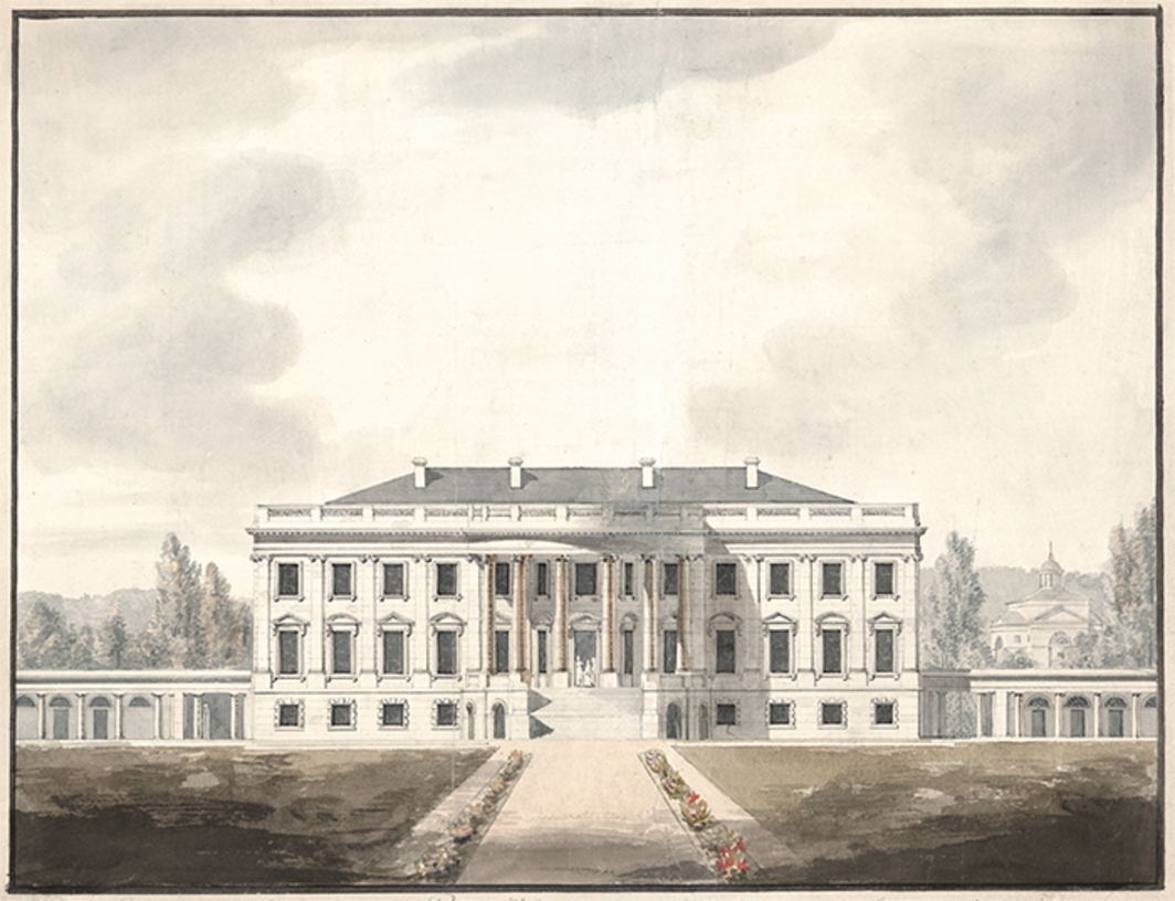 "Benjamin Henry Latrobe, The White House, Washington, DC, South Front Elevation, 1817, watercolor and ink on paper, 16 1/8 × 21 1/4""."