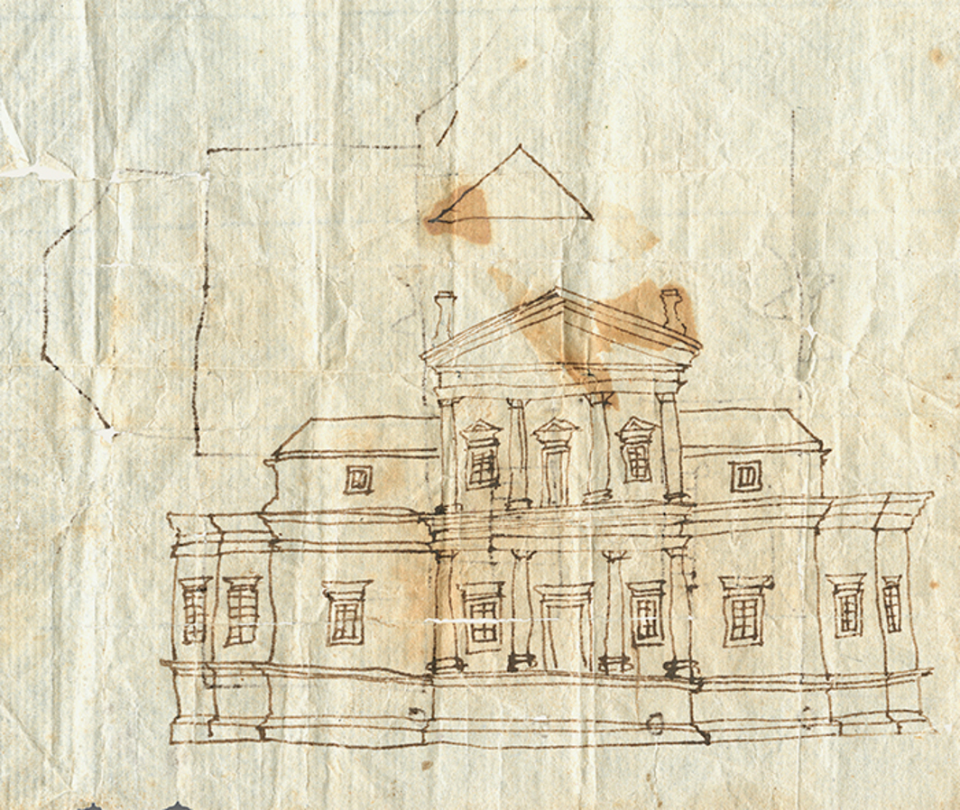 "Thomas Jefferson's sketch of the first Monticello, 1769–70, ink on paper, sheet size 4 × 5"". © Thomas Jefferson Foundation at Monticello."