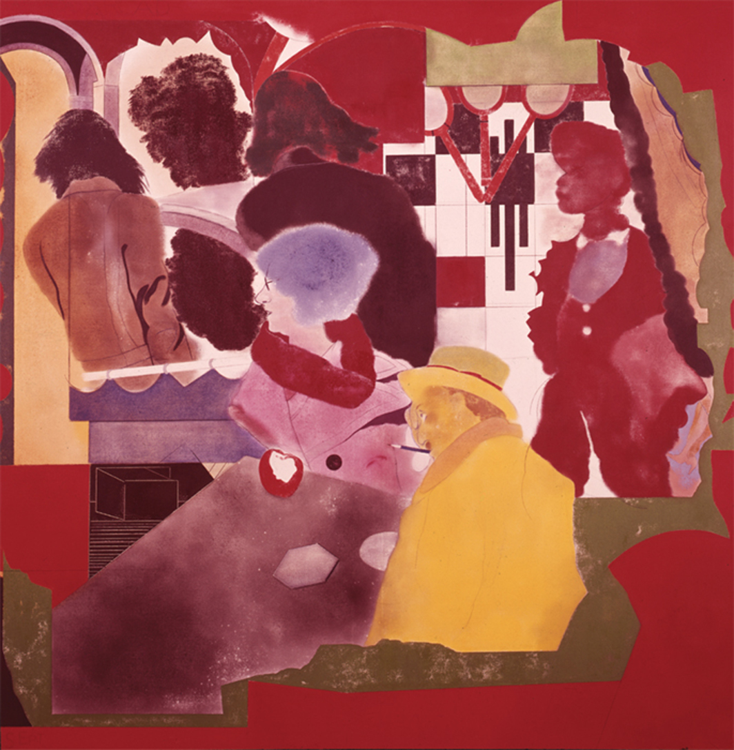 "R. B. Kitaj, Arcades (After Walter Benjamin), 1972–74, oil on canvas, 60 × 60""."